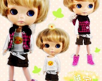 Clearance Sale - YAN - Magenta Checker Vest for Blythe doll