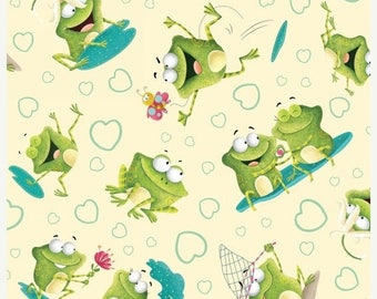 12% off thru July FROGLAND FRIENDS Henry Glass  quilters cotton fabric by the  yard tossed frogs on pale yellow 1057-40