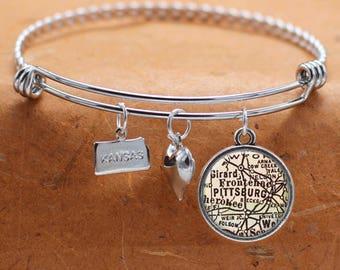 Pittsburg KS Map Charm Bracelet State of Kansas Bangle Cuff Bracelet Vintage Map Jewelry Stainless Steel Bracelet Gifts For Her