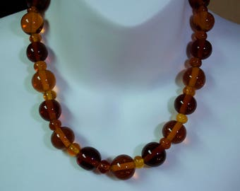 Vintage Graduated Amber Glass Beaded Necklace