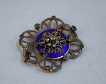 Vintage 1920's Edwardian Art Nouveau Style Brass Brooch with Blue Enameled Center and Paste Stones