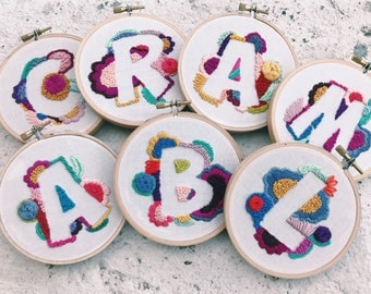 Custom Negative Space Letter in Embroidery Hoop