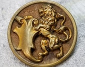 Large Rampant Lion with Shield Picture Button ~ Tinted Pierced Brass Pictorial over Wood Background ~ just over 1-1/2 inch 38mm