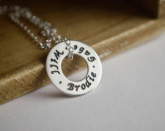 Custom Jewelry - Family Necklace - Children's Names - Sterling Silver Washer