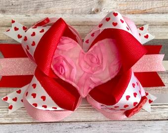 Valentines hairbows- Valentines headband- Valentines hair clip- Heart hairbows-Heart headbands