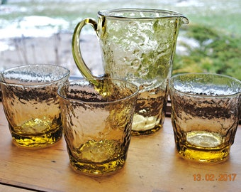 Morgantown Crinkle Glass 3  Old Fashion Glasses and a 28 Ounce Pitcher in Topaz