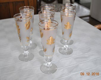 7 Libbey Golden Foliage Pilsner Glasses
