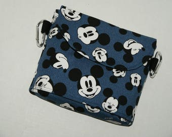 """NEW SIZE 2 Way Hip Bag / Fanny Pack With Belt Loop and Carabiners Made with Japanese Fabric """"Mickey - Denim Canvas""""  Plus Size"""