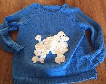 Hand knitted poodle jumper blue