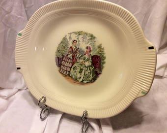 "Codey Prints Ecru Rib Salem China 13 3/4"" Serving Platter 1940's Victory Shape"