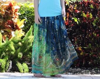Blue Maxi Skirt, Blue and Green Tie Dye Skirt, Gypsy Skirt, Long Indian Skirt, Boho Sequined Skirt, Hippie Skirt, Bohemain Festival Clothing