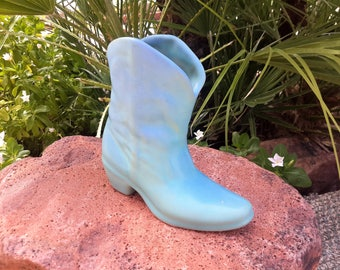 Van Briggle Pottery Cowboy Boot Ming Blue Color Colorado Springs Pottery