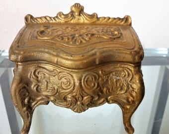 Art Nouveau Jewelry Casket Box Bronze Cast Metal Floral Footed / Box Design Is Of Antique Desk / Small to Medium Sized Box