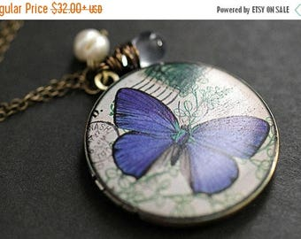 BACK to SCHOOL SALE Blue Butterfly Locket Necklace. Butterfly Necklace with Pale Blue Teardrop and Pearl. Handmade Jewellery.