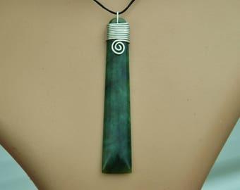 New Zealand Greenstone Pounamu Toki pendant ~with sterling silver binding