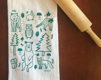 Flour Sack Tea Towel - Woodland Animals - Hand Printed Original illustration - Bear, Fox, Wolf, Raccoon, Squirrel, Hostess Gift, Holidays
