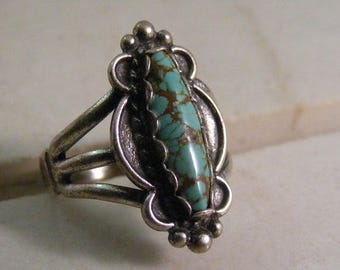 Vintage Sothwest Bell Trading Company Turquoise Ring in Sterling Silver.....  Lot 5349