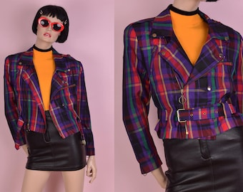 80s Plaid Moto Jacket/ Small/ 1980s/ Cropped/ Nylon
