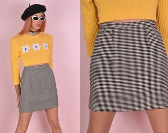 80s Black and White Houndstooth Wool Skirt/ US 8/ 1980s