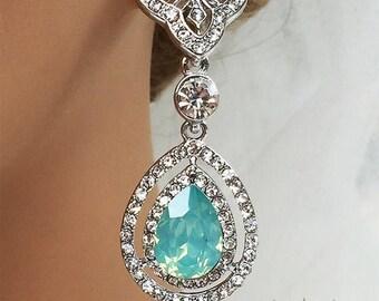 Bridal jewelry, Bridal earrings, Wedding jewelry, Teardrop earrings,  Mint green crystal earrings, Pacific Opal earrings, Victorian earrings