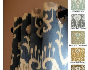 SALE Java Ikat Grommet Curtains Drapery Panels 63 72 84 96 108 or 120 Long by 24 or 50 Wide