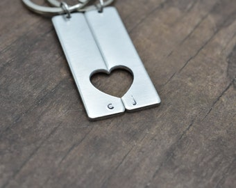 Half Heart Personalized Keychains, Heart Cut Out Keychains, Couples Keychains, Personalized gift for couples, Romantic Couples GIft