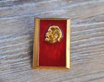 "Vintage Soviet Russian badge,pin.""Lenin""."