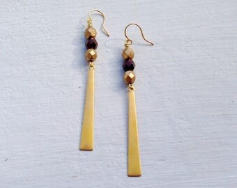 Long Boho Earrings/Boho Festival Earrings/Bohemian Earrings/Boho Chic/Long Gold Earrings/Gifts For Her/Bronze Earrings/Czech Glass Earrings