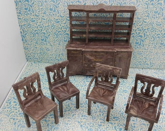 Plasco Dining room Lyre chairs and China hutch Furniture Dollhouse Traditional Style 1944