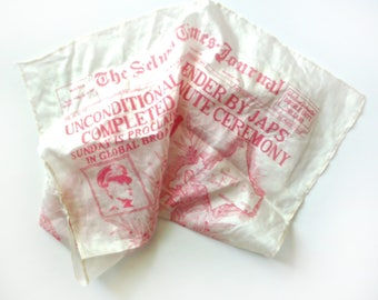WWII V-J Day Souvenir Silk Scarf, The Selma Times Journal