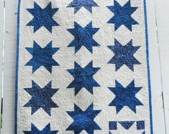 "Organic Sawtooth Star Quilt, Baby Quilt, Wall Hanging, Homeade Indigo Quilt, Constellation Wall Hanging, Tiny Home Decor, 30"" x 42"""