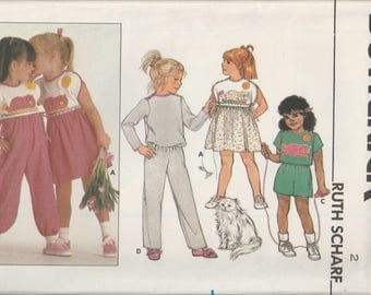 1985 Sewing Pattern Butterick 3142 girls dress, jumpsuit, pants, shorts, & top size 2