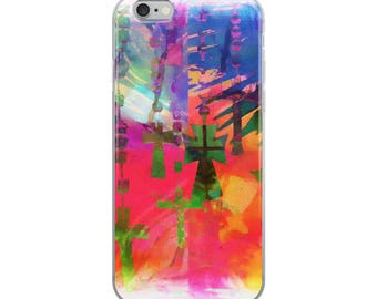Hanging Crosses and Rosary Beads, Christian, Mary, Catholic, Blue, Pink, Yellow, Green, iPhone Case