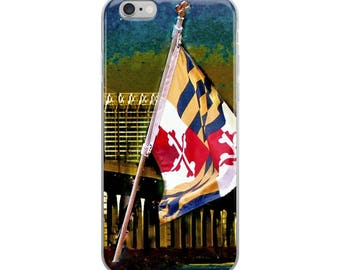 Maryland Flag and Baltimore Skyline at Dusk,iPhone Case