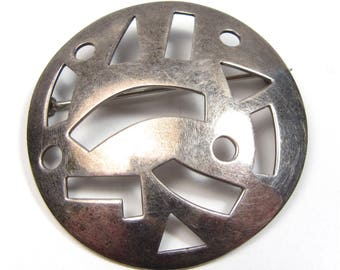 Vintage Sterling Silver Modernist Cut Out Geometric Shape Signed ZINA Brooch Pin