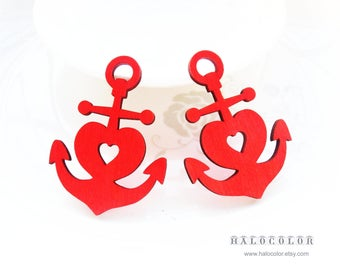 Dyeing Series - 6 PCS 38x 52mm Variety of Colors Filigree Anchor with Heart Wood Dangle/ Wooden Charm/Pendant NM190