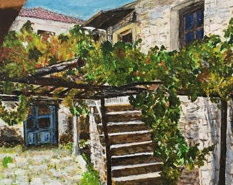Acrylic painting of an Old House in Ithaca