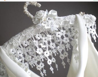 ON SALE Wide Floral Lace Cascade Hanger. Bridal Padded Satin Victorian Lace GIFT. Artisan Hand Made. Bridal Shower Gift. Hand Rolled Satin F
