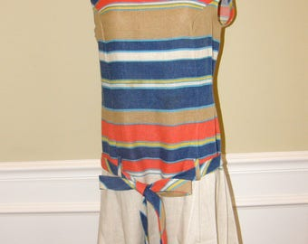 Vintage True Scooter Dress!  Early 1960s Sear's Mod Striped Drop Waist in Barkcloth Sleeveless w/ Required Pleats!  Hop on the Vespa and Go!