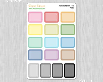 Round Half Boxes, Rainbow Pastels - 16 Functional Planner Stickers for your MAMBI Happy Planner Classic - Weekly View Layout    010