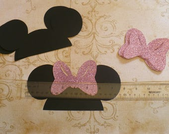 DIY Minnie Mouse Black Ears Cardstock Pink Glitter Bows for Crafts Photo Booth Birthday Party Weddings Props DIY