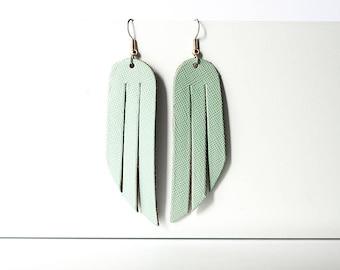Leather Earrings / Fringe / Minted