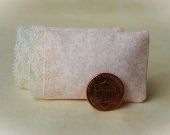 Dollhouse Miniature Pillows Set of 2 Pink Vines Bed Pillows with delicate lace detail - 1:12 scale