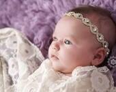 BAPTISM RHINESTONE HEADBAND Ready To Ship Headband Baby Rhinestone Headband Christening Headband Flower Girl Headband Newborn Photo Prop