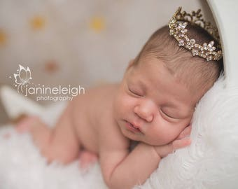 Gold Baby Crown Baby Tiara Baby Crown Photo Prop Baby Girl Tiara Baby Girl Headband Newborn Headband Rhinestone Crown Newborn Photo Prop