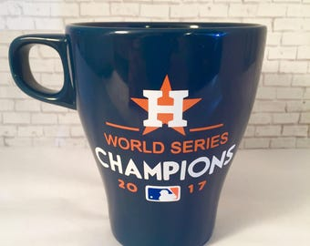 Houston Astros 2017 World Series Commemorative 8.5oz Blue Tea / Coffee Mug which can be personalized on back of mug at no extra cost.