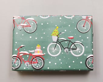 Christmas Bicycles Wrapping Paper, 2 Feet x 10 Feet