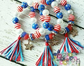 4th of July Bracelet, Patriotic Bracelet, 4th of July Kids Bracelet, Patriotic Kids Bracelet, Red White & Blue Bracelet, Bead Bracelet, Bead