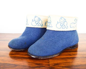 Vintage Blue Boy Baby Shoes Toddle Booties, Unique Retro Nursery Shelf Decor Decoration, New Baby Reveal Shower Gifts
