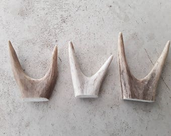 3 natural deer antler forks crafts rustic decor gift design jewelery art display ornament lamp finial necklace